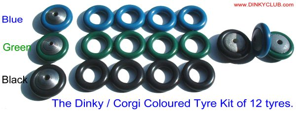 BLACK, GREEN, BLUE SMOOTH TYRE Set of 12 (Price per set of 12)